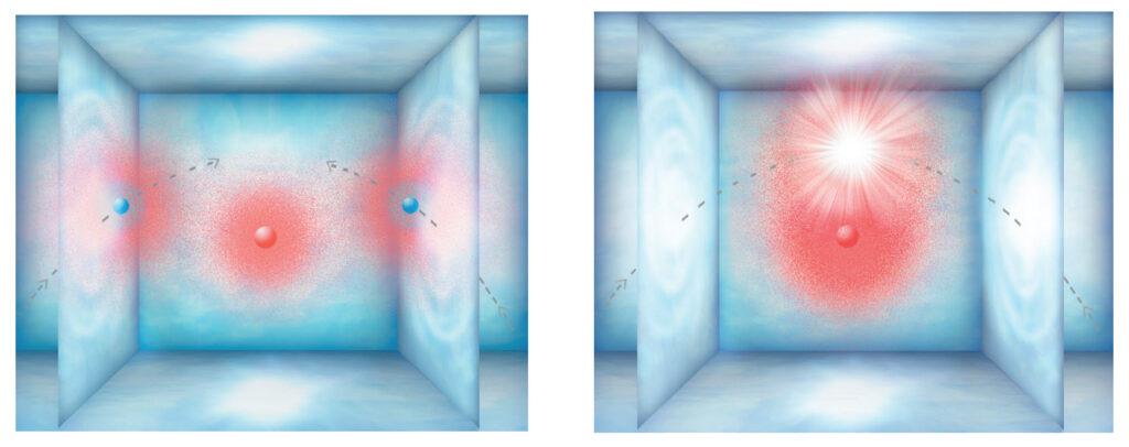 Šema sudaranja dviju fantomskih Po čestice u ezoosmičkoj ćeliji
